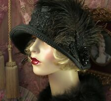 1920'S VINTAGE STYLE BLACK FAUX FUR FEATHER VICTORIAN BEADED CLOCHE FLAPPER HAT