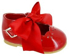 KIDS BABY INFANTS GIRLS SATIN BOW SPANISH WEDDING PARTY PATENT TOODLER SHOES SZ