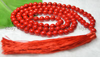 AAA 10mm Tibetan Buddhism 108 Red Coral Prayer Beads Mantra Mala Gems Necklace