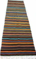 "Antique vintage Turkish handmade striped rug runner  (38"" x 128"") pure wool   #9"