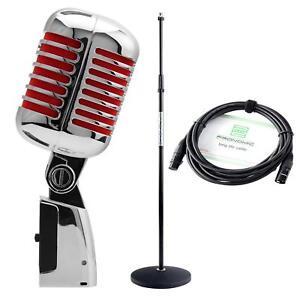 DJ PA Vintage Gesangs Mikrofon Retro Mikro Live Mic Micro Ständer Kabel Set Rot
