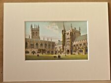MAGDALEN COLLEGE CHAPEL AND LIBRARY OXFORD SUPERB QUALITY ANTIQUE MOUNTED CHROMO