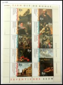 NETHERLANDS 1999 Mi. 1720-29 Klb. ART: Paintings of 17th Century MINI-SHEET, MNH