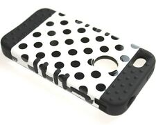 iPHONE 4 4S - HARD & SOFT RUBBER HYBRID HIGH IMPACT CASE BLACK WHITE POLKA DOTS