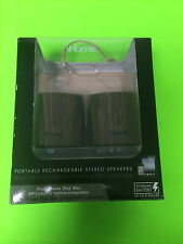 IHOME PORTABLE RECHARGEABLE SPEAKERS IHM89DC WOOD GRAIN WITH CARRY POUCH