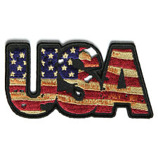 Embroidered USA Vintage Flag Letters Iron on Sew on Biker Patch Badge