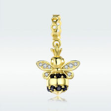 925 Sterling Silver Charm Bead Queen Bee 14k Gold CZ Pendant For Bracelet Chain
