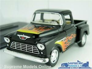 CHEVROLET STEP SIDE MODEL PICK UP TRUCK 1:32 SCALE BLACK FLAME GRAPHIC +CASE K8