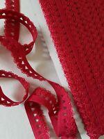 1,10€/m-Gummiband, Rüschengummi,Gummilitze ,Wäschegummi in rot 3mx15mm