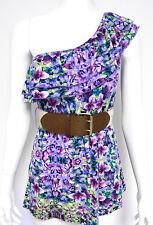 Self Esteem Junior LARGE Purple Floral Belted One Shoulder Jersey Top NWOT
