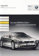 Bmw 6 6er e64 cabriolet convertible arguments avantages prospectus brochure 2004/20