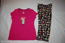 "Womens Pajamas PINK BLACK COCKTAILS ""RELAX"" Capri Bottoms S/S Top S 4-6"