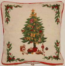 """Needlepoint Christmas Holiday Pillow Hand Stitched 13.5"""" Square Steinwinder Ent"""