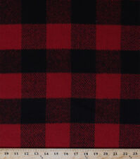 Wool Blend Coating Brawny Buffalo Check Plaid Red Black Wool Fabric BTY D379.06