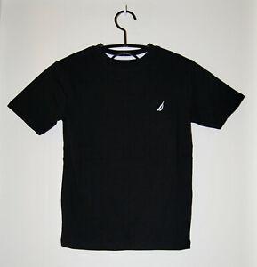 NWT Nautica Big Boys Solid Black Crewneck SS Logo T-Shirt sz S M L