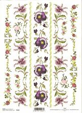 Rice Paper for Decoupage Scrapbooking, Embroidered Flowers Pansy  A4 ITD R468