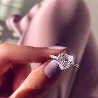 der Hochzeit Zircon AAA Ring des Herzens Weißer Saphir 925 Silber überzogen