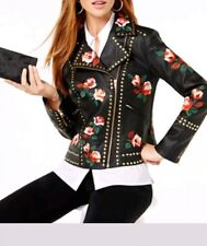 Anna Sui  Floral Rose Embroidered Faux Leather Jacket with Studs (petite Small)