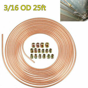 Universal 3/16 OD 25ft Roll Copper Nickel Car Brake Fuel Line Tubing +Fittings
