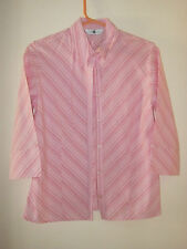 LADIES NEW LOOK PINK SELF STRIPED 3/4 SLEEVE SHIRT. SIZE 14.