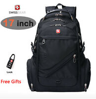 "SwissGear Waterproof 17"" laptop backpack macbook schoolbag Travel Hiking pack"