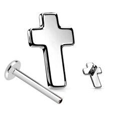1,2mm Titan Micro Labret Kreuz Platte Ohr Tragus Helix Piercing Innengewinde
