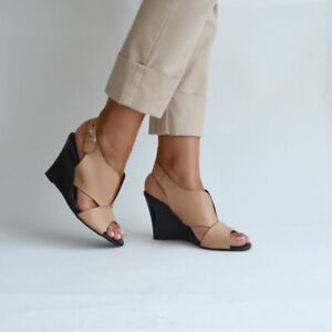 Damen Sandalen Italien Wedge/Keilabsatz Kalbsleder Camel Größe 36 NP 135,00