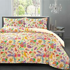 Gemma Watercolour Paisley Floral Hotel Quality 100% Cotton Satin Duvet Cover Set