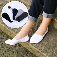 5 Pairs Mens Invisible No Show Nonslip Solid Cotton Loafer Boat Socks Low Cut hi