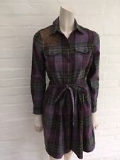 Ralph Lauren Rugby Purple Plaid Suede Leather Insert Dress Size US 2 UK 6 XS