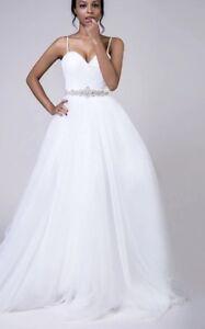 White/Ivory Beach Spaghetti Strap Tulle A Line Wedding Dress Bridal Size custom