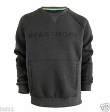 Beast Mode Marshawn Lynch Men's Crew Neck Sweatshirt Sweater 2XL Charcoal