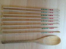 4 x pairs of wooden chopsticks with chinese text & wooden spoon vintage 1980s