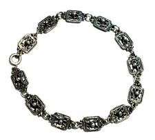 "925 STERLING SILVER Filigree & Ball Design Link Bracelet, 7"" 7.28g - M26"