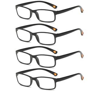 4 Packs Reading Glasses Mens Womens Lightweight Designer Style UV Reader 1.0-4.0