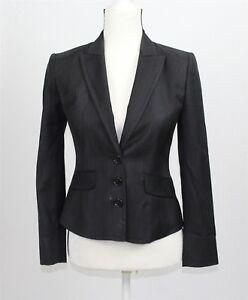 Ann Taylor Women's Suit Jacket Blazer 0P Pants 2 Black Gray Striped 100% Wool