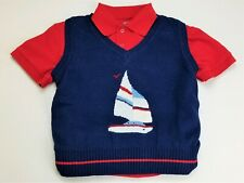 Boys navy blue red white sailboat sweater vest polo shirt outfit 5 nautical suit