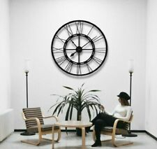 100cm Handmade Large Wall Clock Metal Clock Roman Numerals Black Wall Clock
