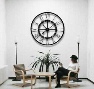 100cm Handmade Large Wall Clock Metal Clock Roman Numerals Black Wall Clock