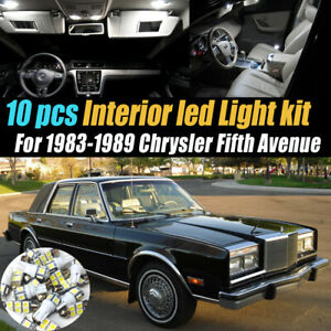 10Pc Super White Car Interior LED Light Bulb Kit for 83-89 Chrysler Fifth Avenue