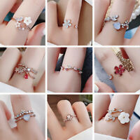 Women Double Layer Adjustable Micro Inlaid Ring Index Flash Diamond Open Ring