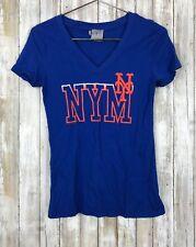 $50 New York Mets Womens Royal Blue Team Fashion V-neck Short Sleeve Shirt Top L
