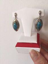 Genuine Kingman Blue Mohave Turquoise & Marcasite Drop Earrings Silver