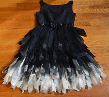Oscar de la Renta Black White Silk Feather Fringe Cocktail Tulle Silk Dress 2 4