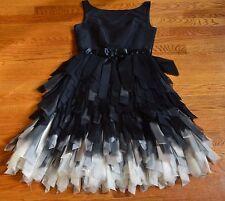 Oscar de la Renta Black White Silk Feather Fringe Cocktail Tulle Silk Dress 2 4