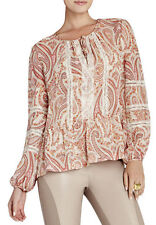 "$198 BCBG PINK CLAY COMBO ""CERISE"" LACE PRINTED LONG SLEEVE SILK TOP NWT L"