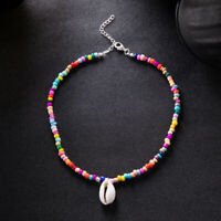 Bohemian Handmade Rainbow Bead Necklace Candy Colored Bead Jewelry Necklace New