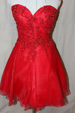 NWT Mon Cheri MCS21664 RED size 12 Short formal beaded tulle holiday dress