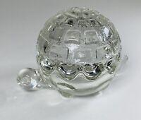 Vintage Anchor Hocking Clear Glass Turtle🐢 Tortoise 2-Piece Trinket Holder