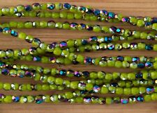 (50) x 3mm Firepolish Czech Glass Beads - Opaque Olive Green Vitral #3FP061